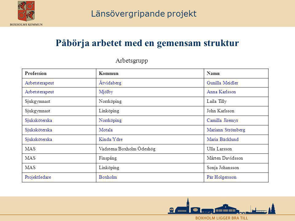 Länsövergripande projekt Påbörja arbetet med en gemensam struktur ProfessionKommunNamn ArbetsterapeutÅtvidabergGunilla Meidler ArbetsterapeutMjölbyAnn