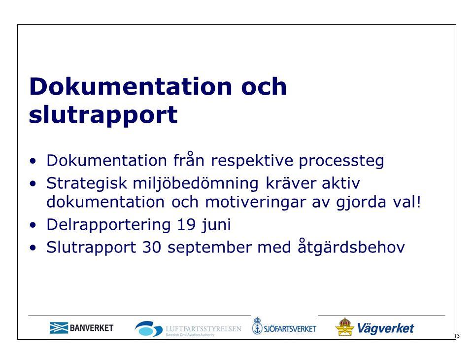 13 Dokumentation och slutrapport Dokumentation från respektive processteg Strategisk miljöbedömning kräver aktiv dokumentation och motiveringar av gjorda val.