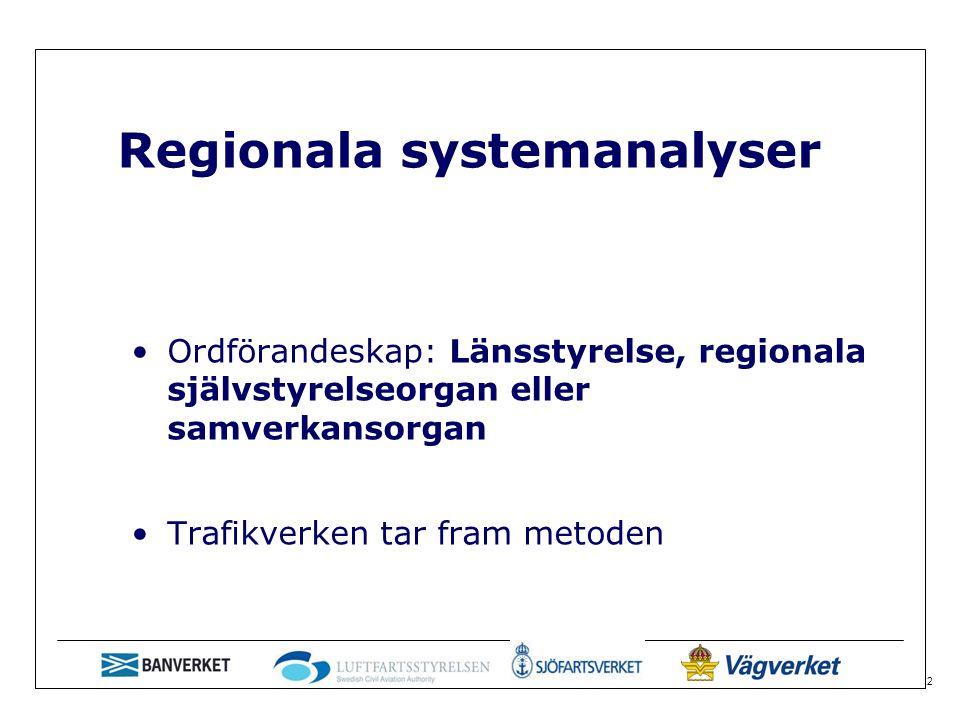 2 Regionala systemanalyser Ordförandeskap: Länsstyrelse, regionala självstyrelseorgan eller samverkansorgan Trafikverken tar fram metoden