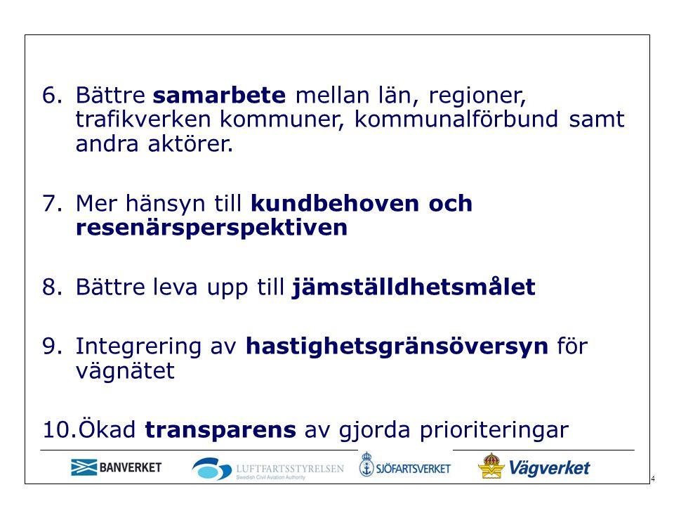 4 6.Bättre samarbete mellan län, regioner, trafikverken kommuner, kommunalförbund samt andra aktörer.