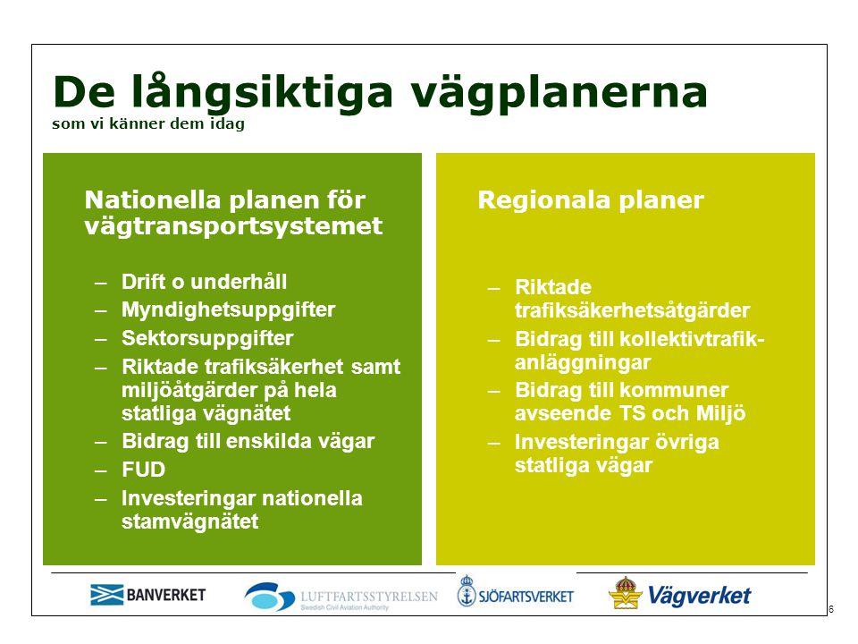 6 De långsiktiga vägplanerna som vi känner dem idag Nationella planen för vägtransportsystemet –Drift o underhåll –Myndighetsuppgifter –Sektorsuppgifter –Riktade trafiksäkerhet samt miljöåtgärder på hela statliga vägnätet –Bidrag till enskilda vägar –FUD –Investeringar nationella stamvägnätet Regionala planer –Riktade trafiksäkerhetsåtgärder –Bidrag till kollektivtrafik- anläggningar –Bidrag till kommuner avseende TS och Miljö –Investeringar övriga statliga vägar