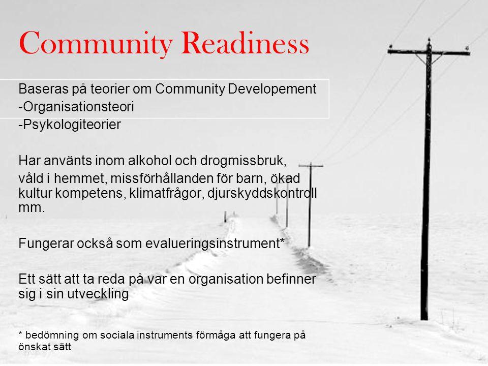 Community Readiness Baseras på teorier om Community Developement -Organisationsteori -Psykologiteorier Har använts inom alkohol och drogmissbruk, våld i hemmet, missförhållanden för barn, ökad kultur kompetens, klimatfrågor, djurskyddskontroll mm.