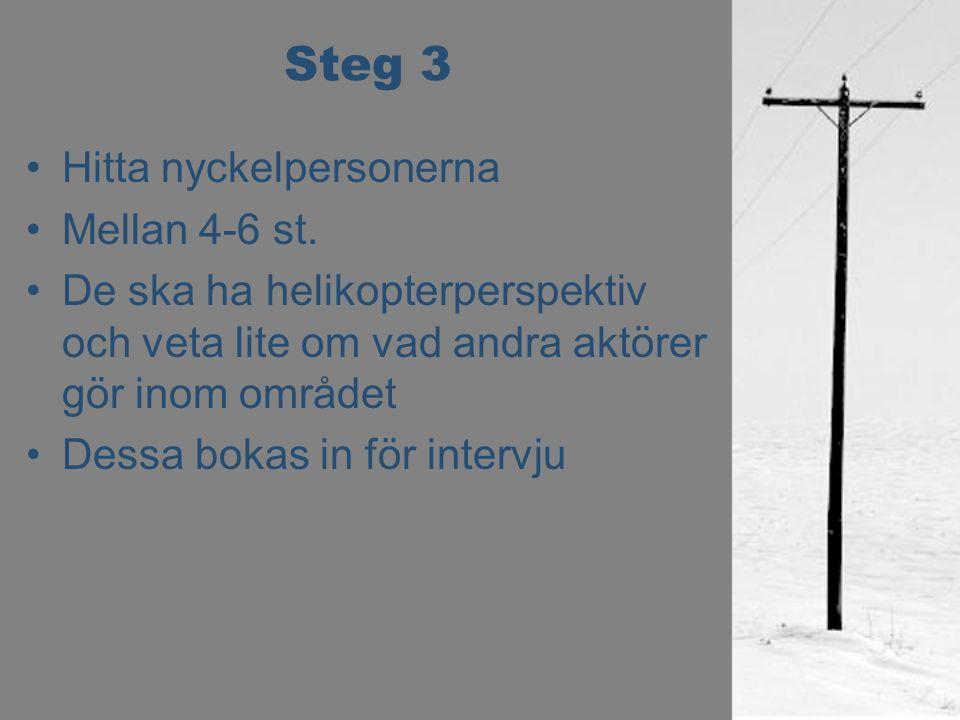 Steg 3 Hitta nyckelpersonerna Mellan 4-6 st. De ska ha helikopterperspektiv och veta lite om vad andra aktörer gör inom området Dessa bokas in för int