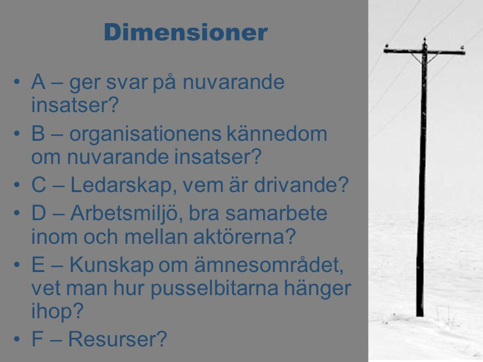 Dimensioner A – ger svar på nuvarande insatser? B – organisationens kännedom om nuvarande insatser? C – Ledarskap, vem är drivande? D – Arbetsmiljö, b