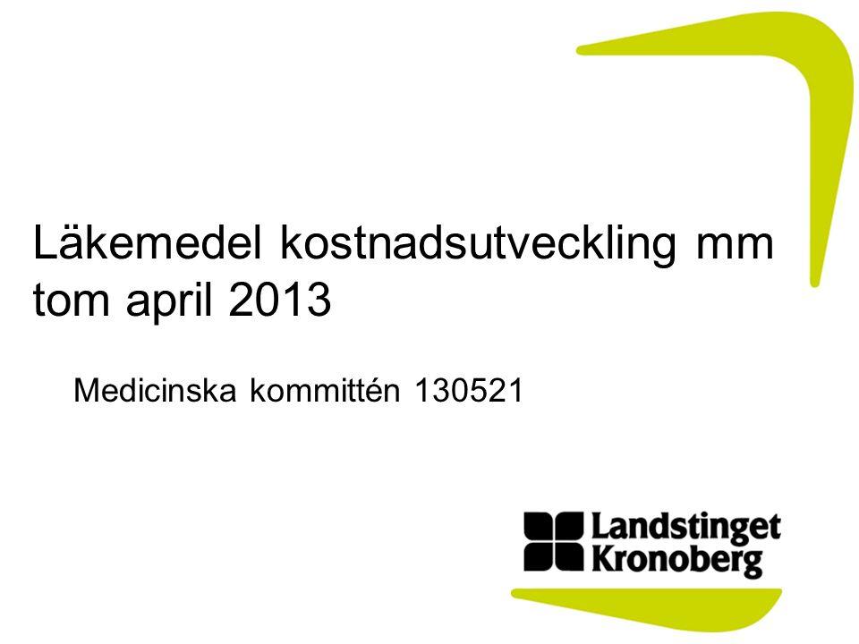 Läkemedel kostnadsutveckling mm tom april 2013 Medicinska kommittén 130521