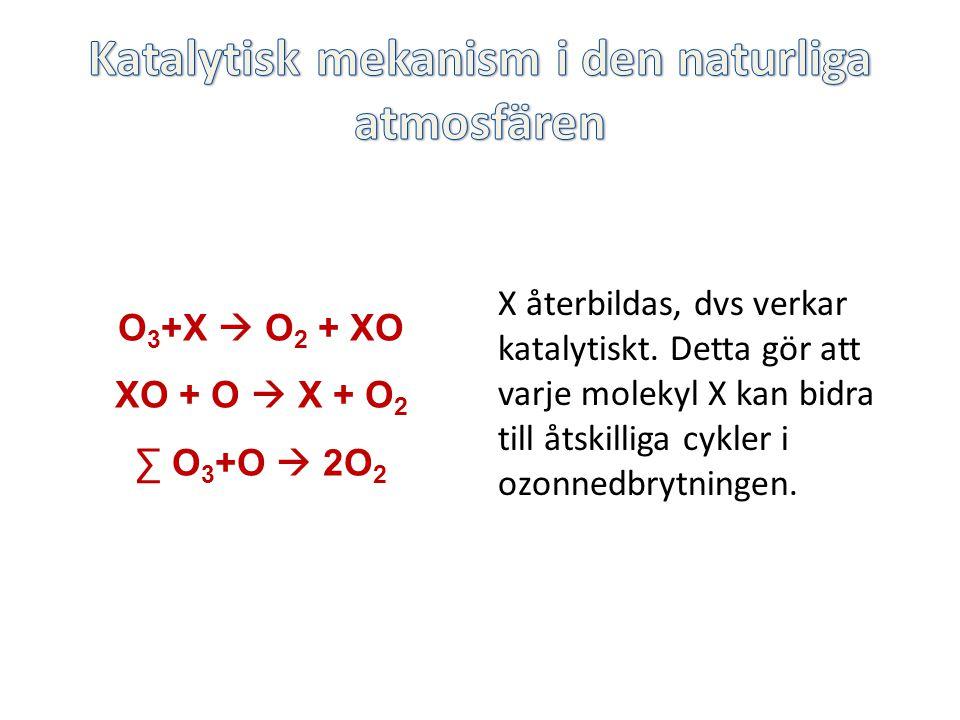 X återbildas, dvs verkar katalytiskt. Detta gör att varje molekyl X kan bidra till åtskilliga cykler i ozonnedbrytningen. O 3 +X  O 2 + XO XO + O  X