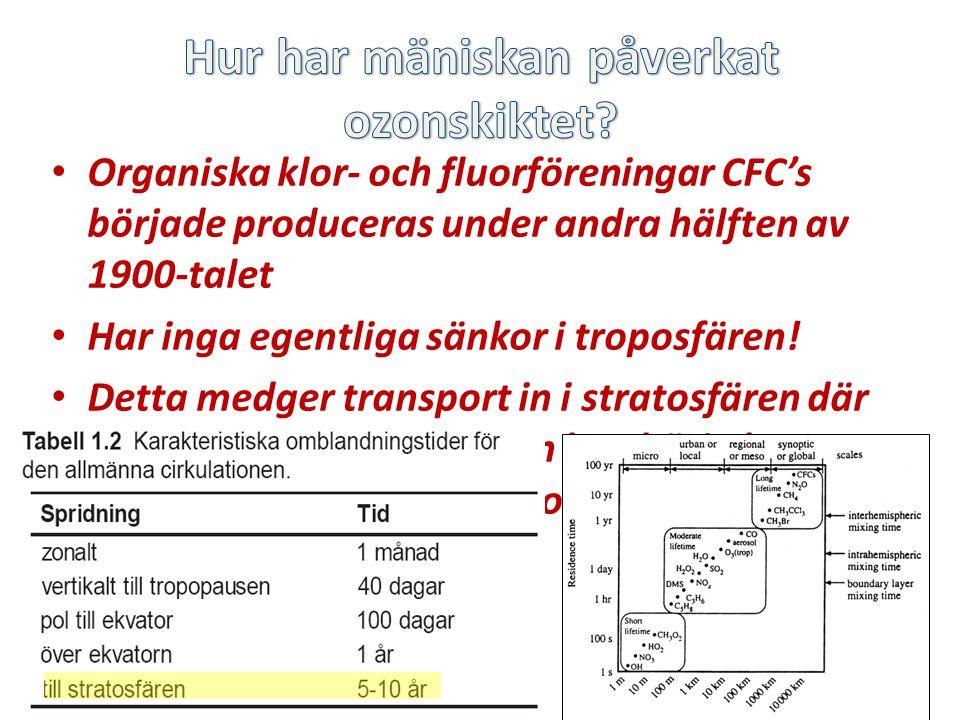 Organiska klor- och fluorföreningar CFC's började produceras under andra hälften av 1900-talet Har inga egentliga sänkor i troposfären.