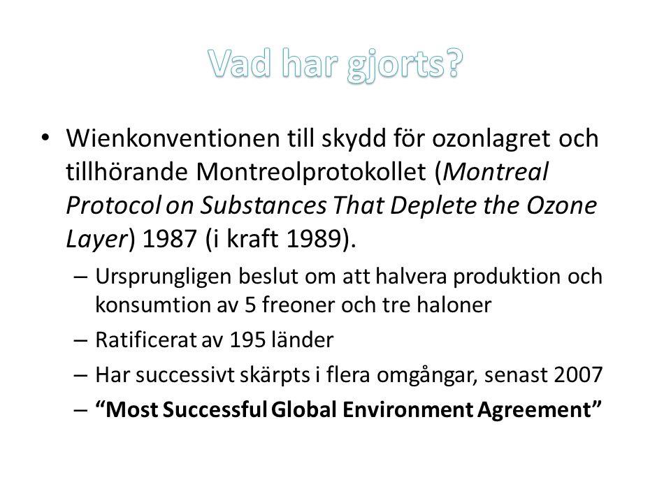 Wienkonventionen till skydd för ozonlagret och tillhörande Montreolprotokollet (Montreal Protocol on Substances That Deplete the Ozone Layer) 1987 (i