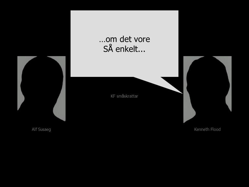 Alf Susaeg Kenneth Flood …om det vore SÅ enkelt... …om det vore SÅ enkelt... KF småskrattar