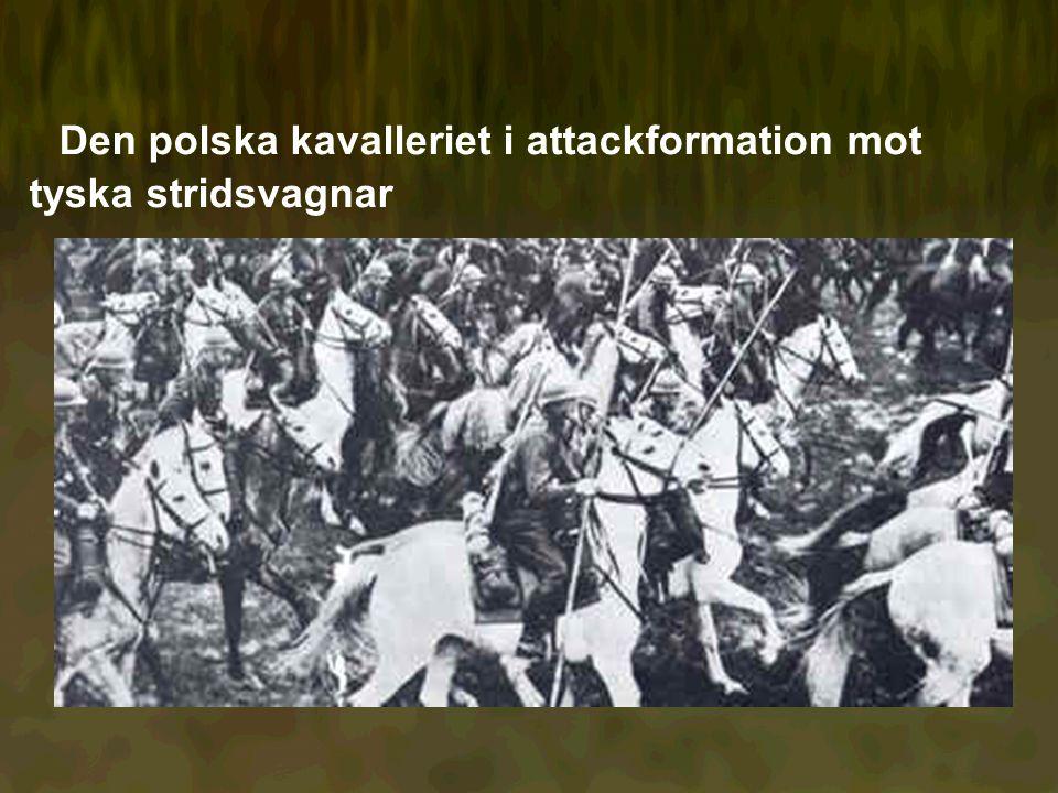 Den polska kavalleriet i attackformation mot tyska stridsvagnar