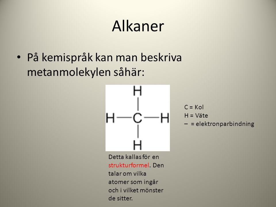 Alkaner På kemispråk kan man beskriva metanmolekylen såhär: Detta kallas för en strukturformel. Den talar om vilka atomer som ingår och i vilket mönst