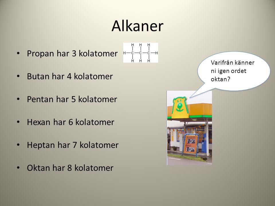Alkaner Propan har 3 kolatomer Butan har 4 kolatomer Pentan har 5 kolatomer Hexan har 6 kolatomer Heptan har 7 kolatomer Oktan har 8 kolatomer Varifrå