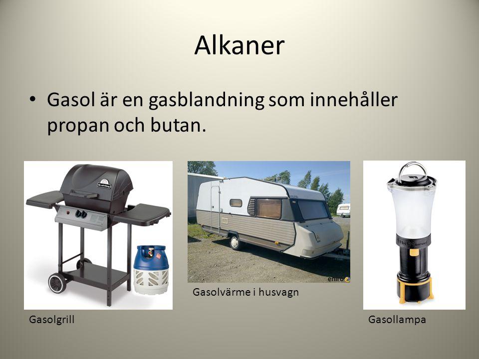 Alkaner Gasol är en gasblandning som innehåller propan och butan. Gasolgrill Gasolvärme i husvagn Gasollampa
