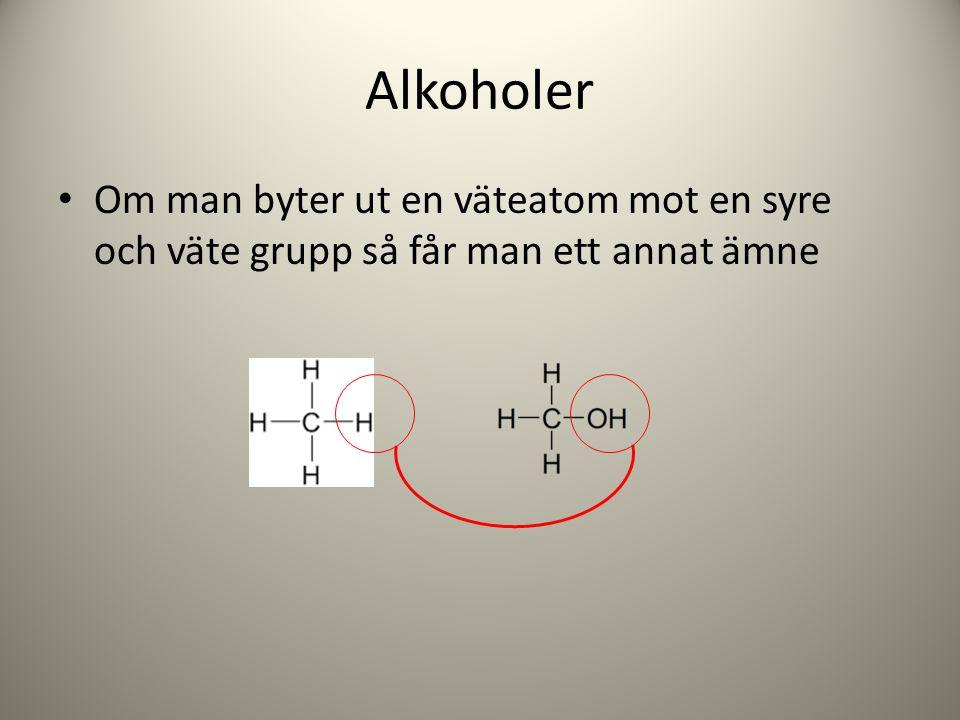 Alkoholer Om man byter ut en väteatom mot en syre och väte grupp så får man ett annat ämne