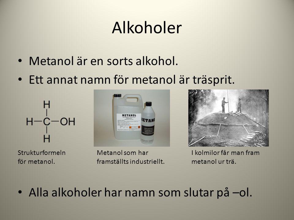 Alkoholer Metanol är en sorts alkohol. Ett annat namn för metanol är träsprit. Alla alkoholer har namn som slutar på –ol. Strukturformeln för metanol.