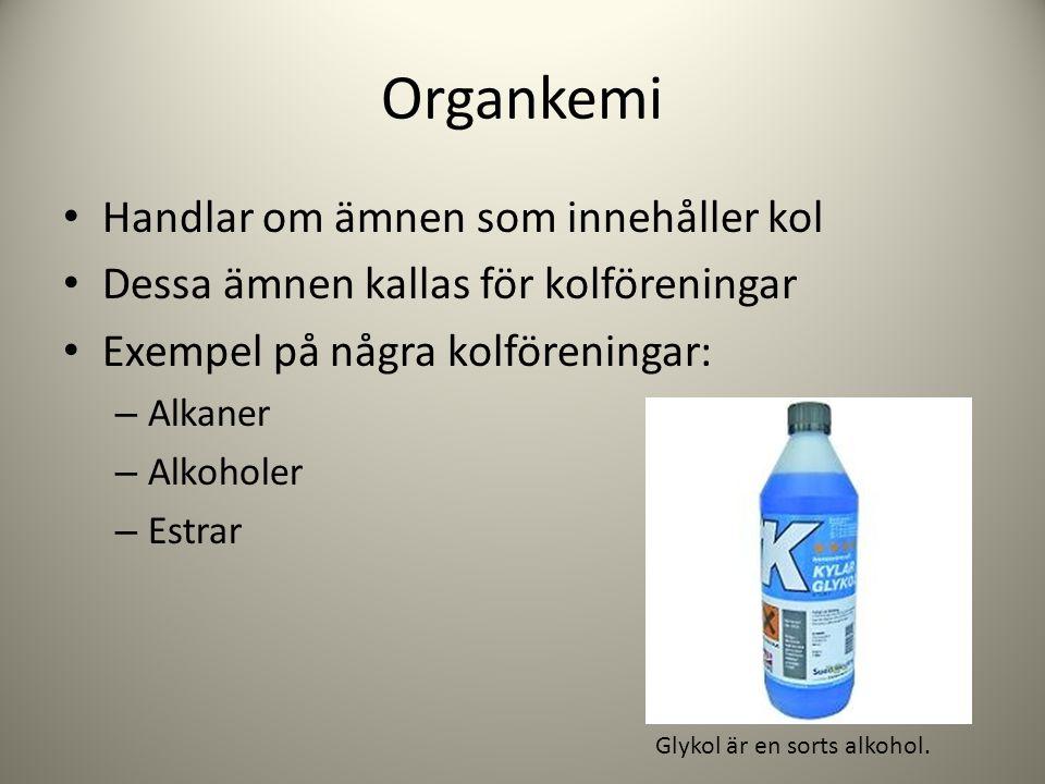 Organkemi Handlar om ämnen som innehåller kol Dessa ämnen kallas för kolföreningar Exempel på några kolföreningar: – Alkaner – Alkoholer – Estrar Glyk