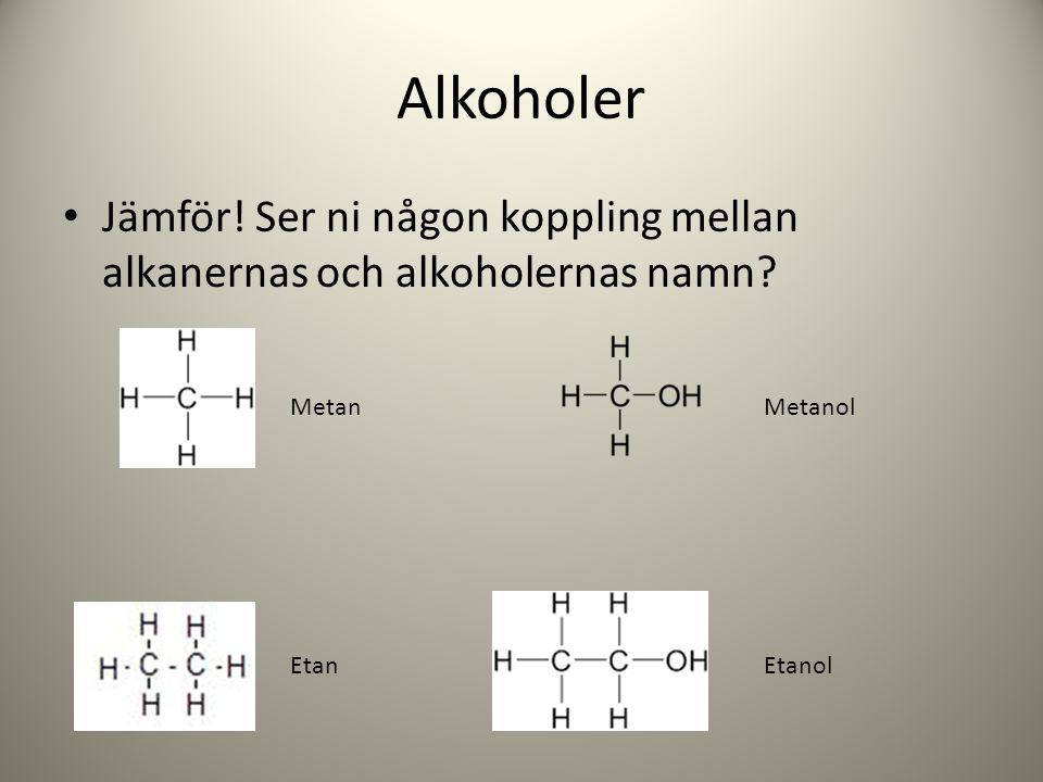 Alkoholer Jämför! Ser ni någon koppling mellan alkanernas och alkoholernas namn? Metan Etan Metanol Etanol