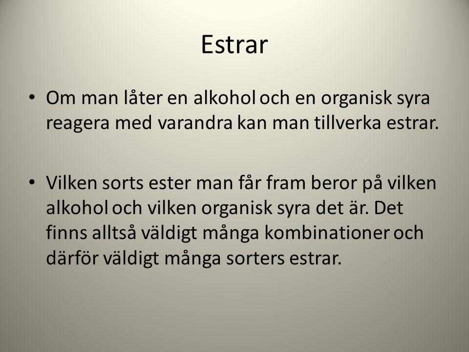 Estrar Om man låter en alkohol och en organisk syra reagera med varandra kan man tillverka estrar. Vilken sorts ester man får fram beror på vilken alk