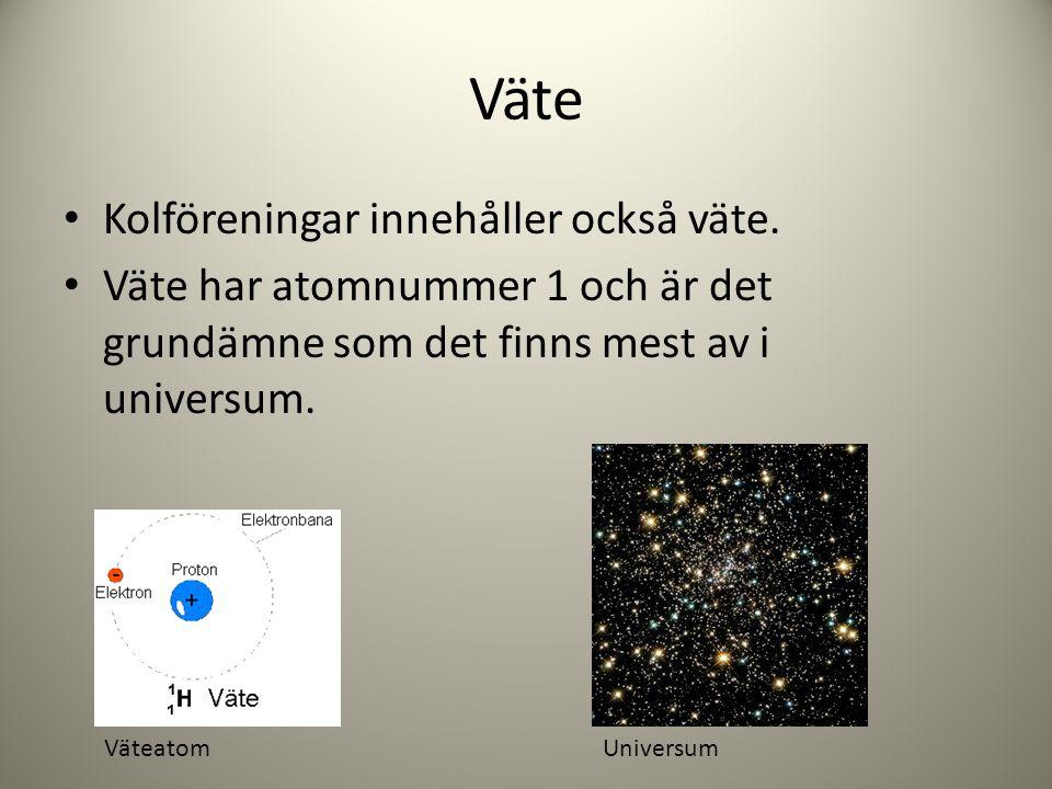 Väte Kolföreningar innehåller också väte. Väte har atomnummer 1 och är det grundämne som det finns mest av i universum. VäteatomUniversum