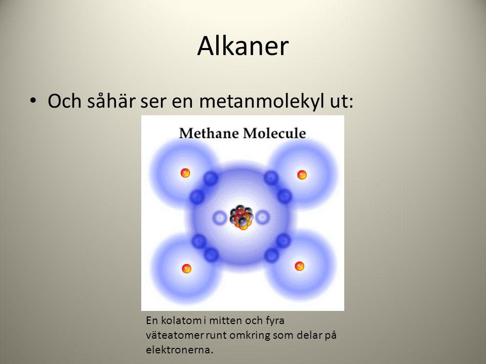 Alkaner Och såhär ser en metanmolekyl ut: En kolatom i mitten och fyra väteatomer runt omkring som delar på elektronerna.