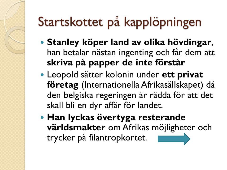 Startskottet på kapplöpningen Stanley köper land av olika hövdingar, han betalar nästan ingenting och får dem att skriva på papper de inte förstår Leopold sätter kolonin under ett privat företag (Internationella Afrikasällskapet) då den belgiska regeringen är rädda för att det skall bli en dyr affär för landet.