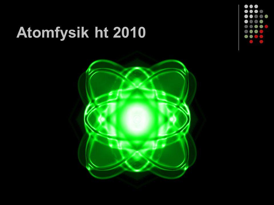 Atomens historia Atom = grekiskans a´tomos som betyder odelbar Filosofen Demokritos, atomer.