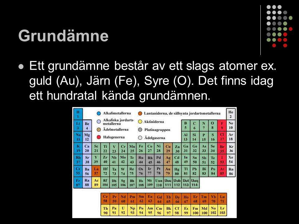 Sammansatt ämnen Ett sammansatt ämne består av molekyler, vilket innebär att flera atomer, av ett eller flera olika sorter, sitter ihop med bindningar.