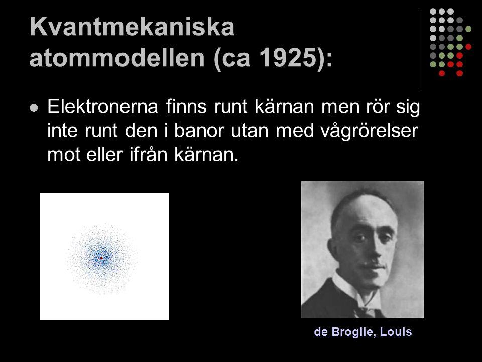 Atomens uppbyggnad En atom består av 2 delar Kärnan: atomkärnan består av positivt laddade protoner och neutrala (ingen laddning) neutroner.