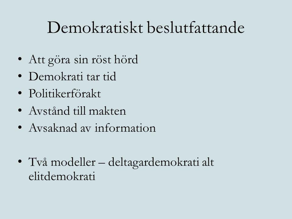 Demokratiskt beslutfattande Att göra sin röst hörd Demokrati tar tid Politikerförakt Avstånd till makten Avsaknad av information Två modeller – deltag