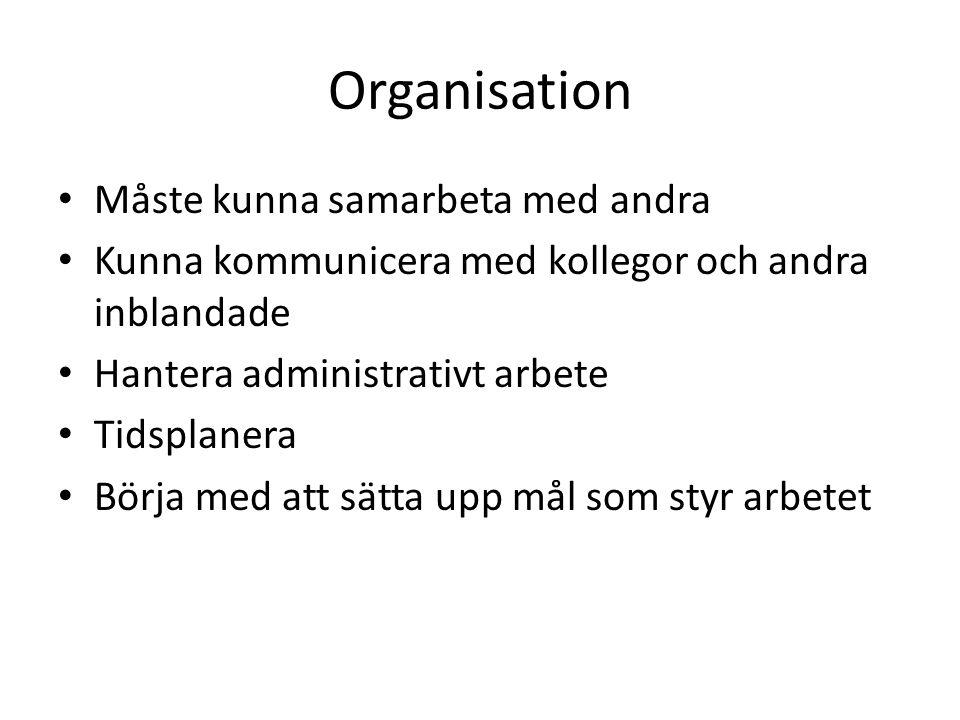 Organisation Måste kunna samarbeta med andra Kunna kommunicera med kollegor och andra inblandade Hantera administrativt arbete Tidsplanera Börja med a