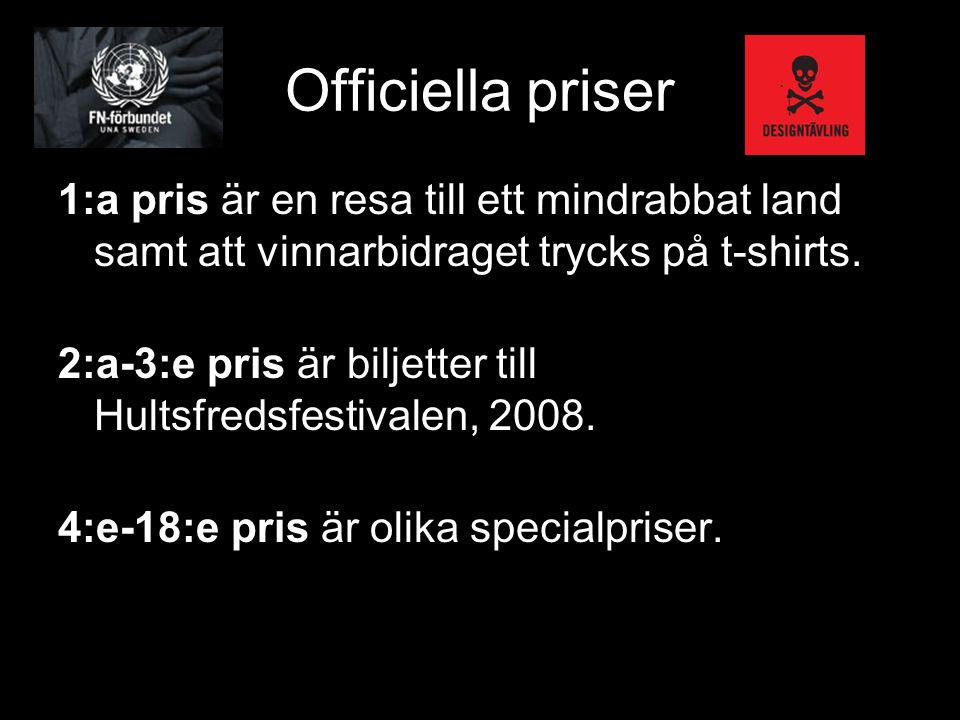 Officiella priser 1:a pris är en resa till ett mindrabbat land samt att vinnarbidraget trycks på t-shirts. 2:a-3:e pris är biljetter till Hultsfredsfe