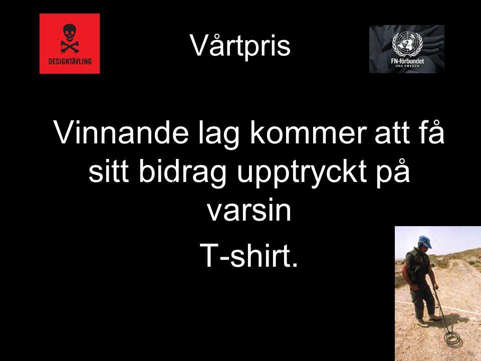 Vårtpris Vinnande lag kommer att få sitt bidrag upptryckt på varsin T-shirt. /
