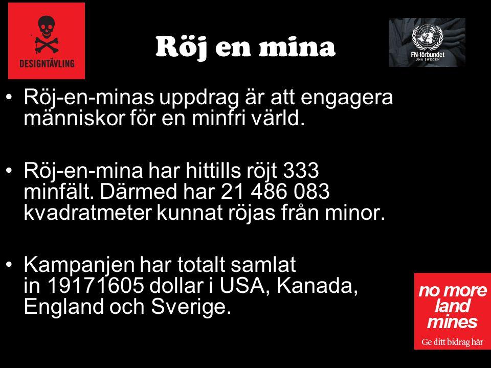 Röj en mina Röj-en-minas uppdrag är att engagera människor för en minfri värld. Röj-en-mina har hittills röjt 333 minfält. Därmed har 21 486 083 kvadr