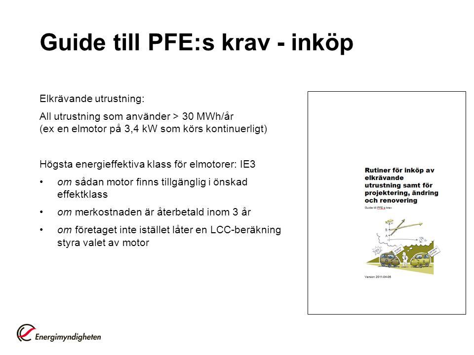 Guide till PFE:s krav - inköp Elkrävande utrustning: All utrustning som använder > 30 MWh/år (ex en elmotor på 3,4 kW som körs kontinuerligt) Högsta energieffektiva klass för elmotorer: IE3 om sådan motor finns tillgänglig i önskad effektklass om merkostnaden är återbetald inom 3 år om företaget inte istället låter en LCC-beräkning styra valet av motor