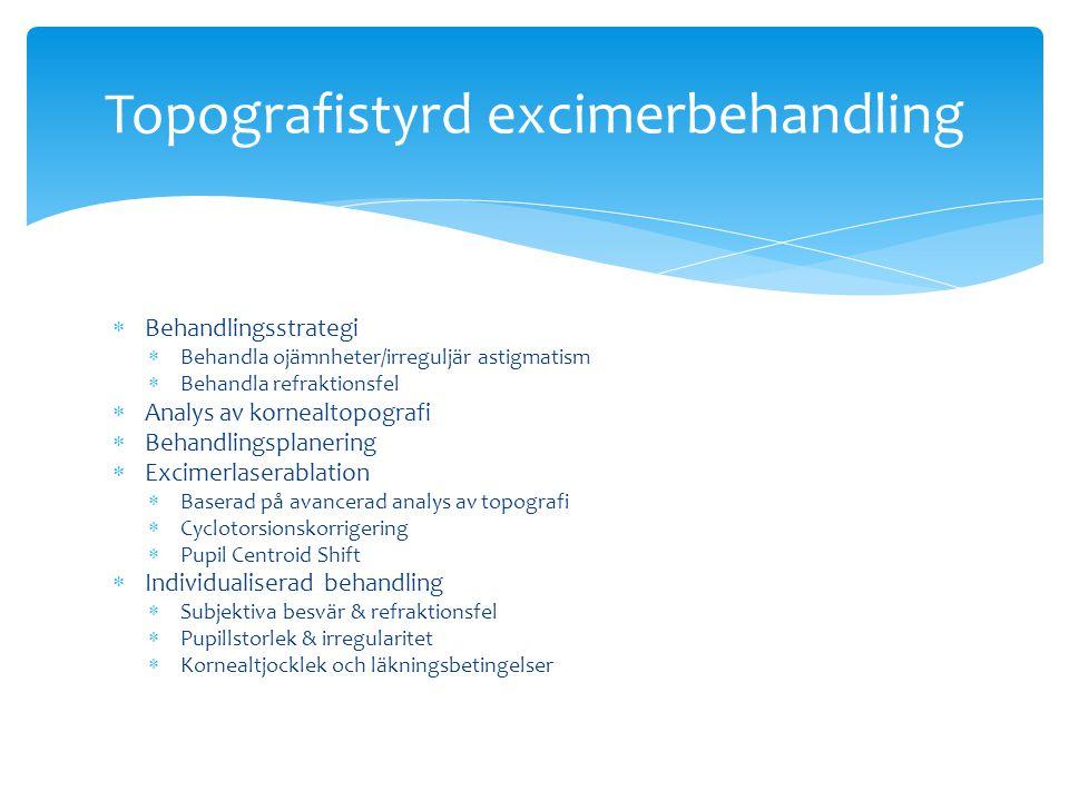  Behandlingsstrategi  Behandla ojämnheter/irreguljär astigmatism  Behandla refraktionsfel  Analys av kornealtopografi  Behandlingsplanering  Exc