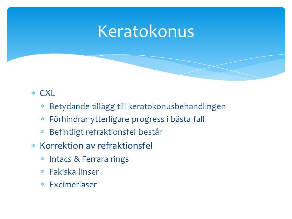  CXL  Betydande tillägg till keratokonusbehandlingen  Förhindrar ytterligare progress i bästa fall  Befintligt refraktionsfel består  Korrektion av refraktionsfel  Intacs & Ferrara rings  Fakiska linser  Excimerlaser Keratokonus