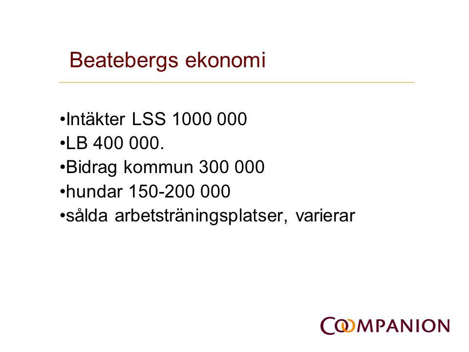 Beatebergs ekonomi Intäkter LSS 1000 000 LB 400 000. Bidrag kommun 300 000 hundar 150-200 000 sålda arbetsträningsplatser, varierar