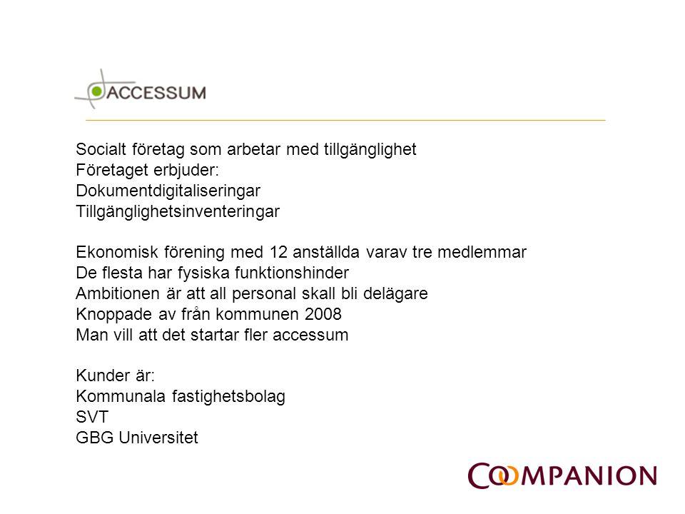 Socialt företag som arbetar med tillgänglighet Företaget erbjuder: Dokumentdigitaliseringar Tillgänglighetsinventeringar Ekonomisk förening med 12 ans