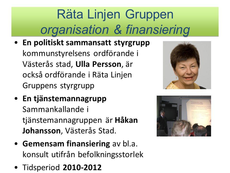 Räta Linjen Gruppen organisation & finansiering En politiskt sammansatt styrgrupp kommunstyrelsens ordförande i Västerås stad, Ulla Persson, är också ordförande i Räta Linjen Gruppens styrgrupp En tjänstemannagrupp Sammankallande i tjänstemannagruppen är Håkan Johansson, Västerås Stad.