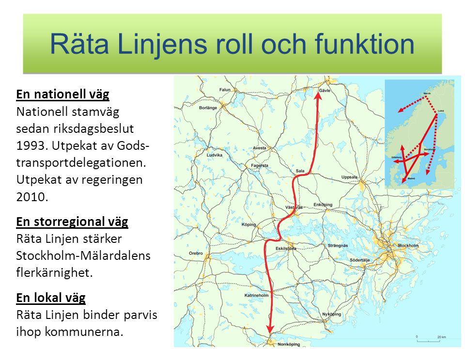 Räta Linjens roll och funktion En nationell väg Nationell stamväg sedan riksdagsbeslut 1993. Utpekat av Gods- transportdelegationen. Utpekat av regeri
