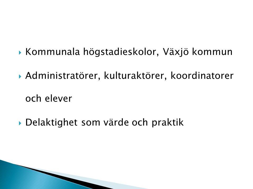  Kommunala högstadieskolor, Växjö kommun  Administratörer, kulturaktörer, koordinatorer och elever  Delaktighet som värde och praktik
