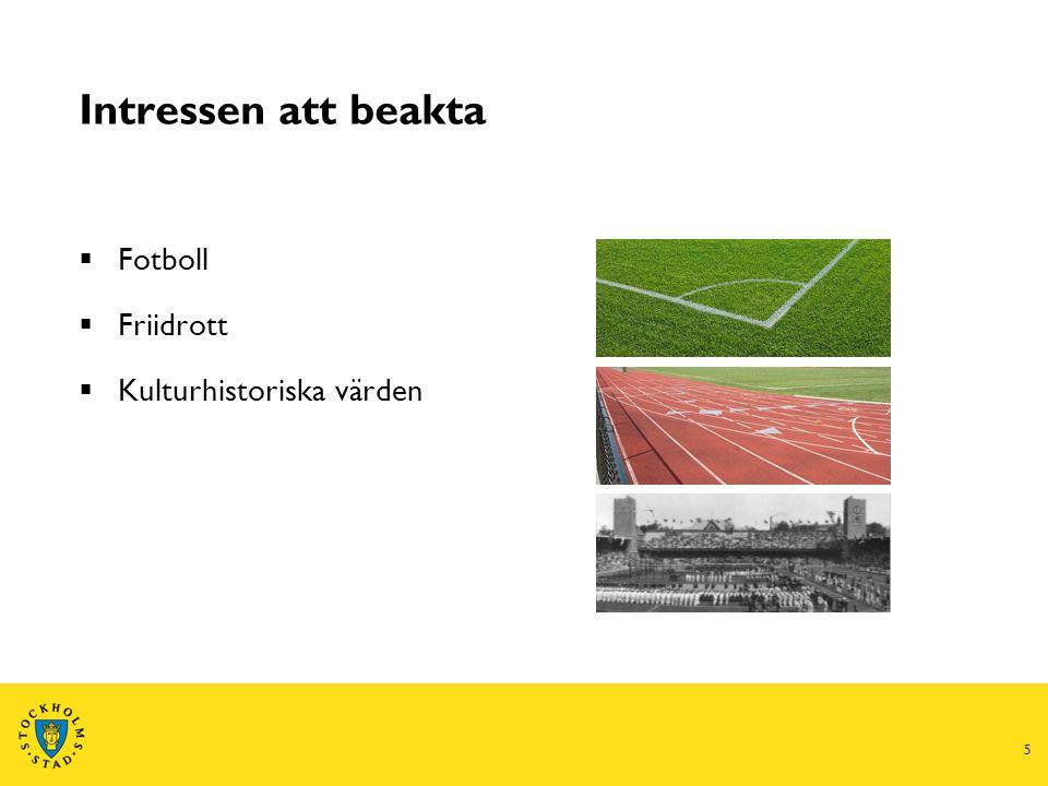 5 Intressen att beakta  Fotboll  Friidrott  Kulturhistoriska värden