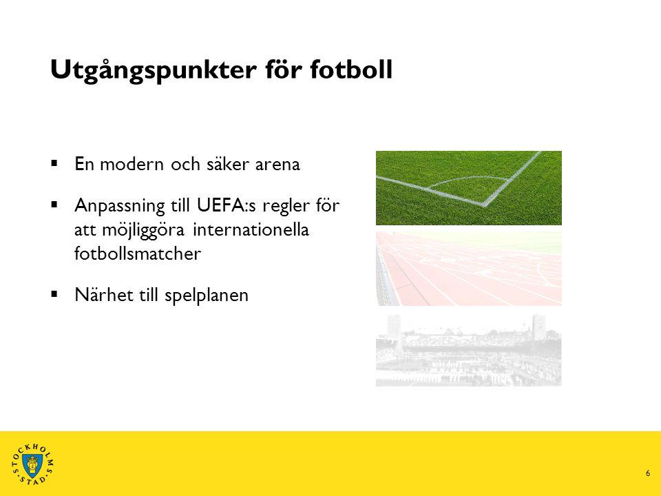 6 Utgångspunkter för fotboll  En modern och säker arena  Anpassning till UEFA:s regler för att möjliggöra internationella fotbollsmatcher  Närhet till spelplanen