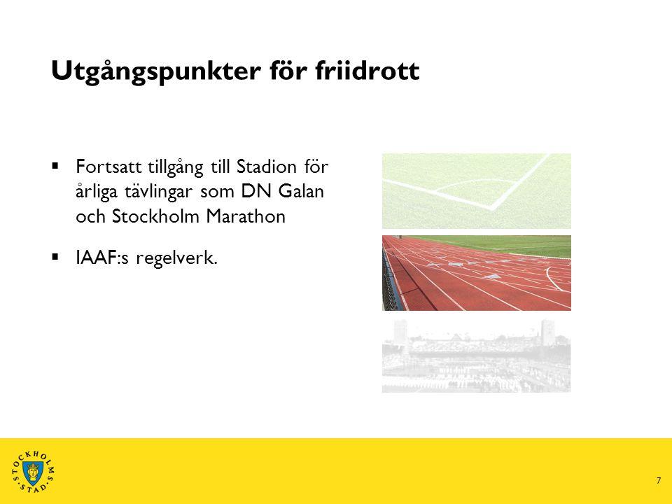 7 Utgångspunkter för friidrott  Fortsatt tillgång till Stadion för årliga tävlingar som DN Galan och Stockholm Marathon  IAAF:s regelverk.