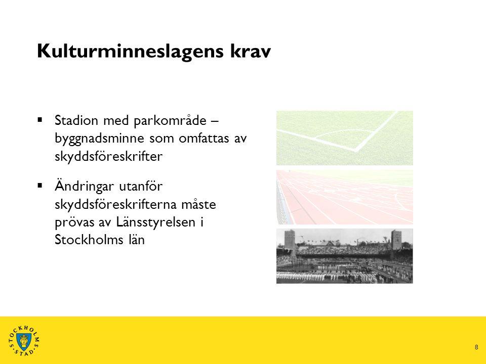 8 Kulturminneslagens krav  Stadion med parkområde – byggnadsminne som omfattas av skyddsföreskrifter  Ändringar utanför skyddsföreskrifterna måste prövas av Länsstyrelsen i Stockholms län