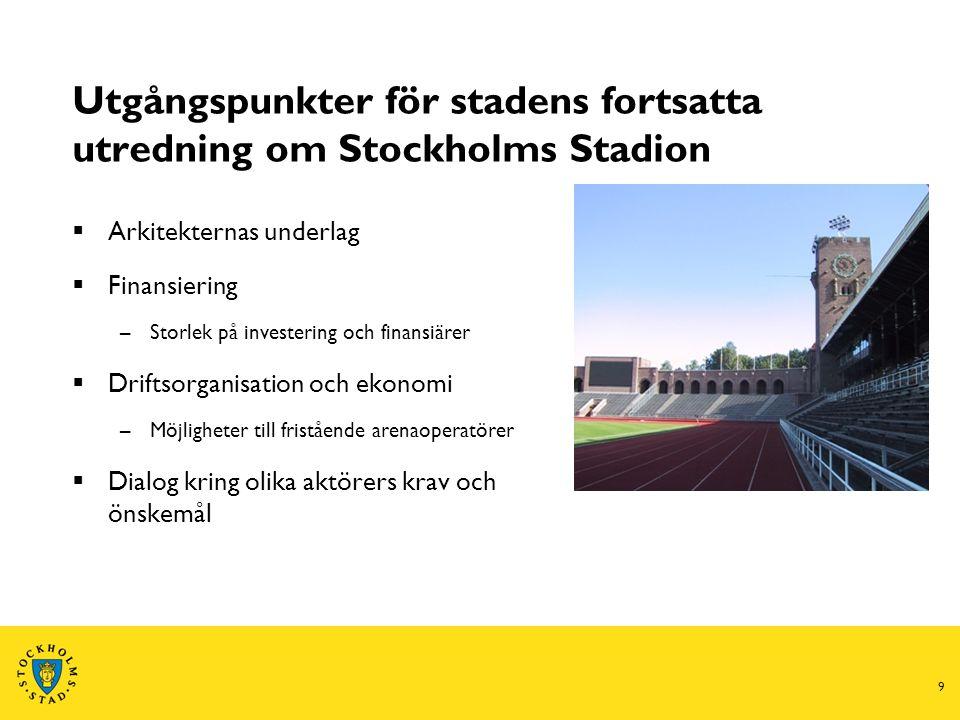 9 Utgångspunkter för stadens fortsatta utredning om Stockholms Stadion  Arkitekternas underlag  Finansiering –Storlek på investering och finansiärer  Driftsorganisation och ekonomi –Möjligheter till fristående arenaoperatörer  Dialog kring olika aktörers krav och önskemål