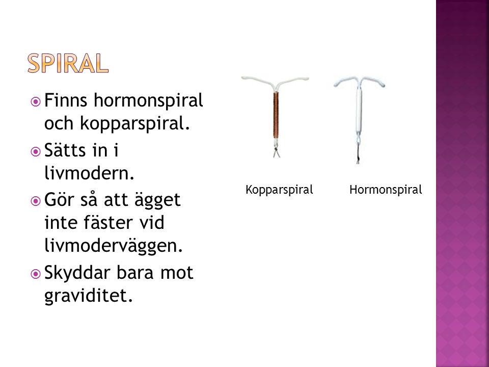  Finns hormonspiral och kopparspiral.  Sätts in i livmodern.  Gör så att ägget inte fäster vid livmoderväggen.  Skyddar bara mot graviditet. Koppa