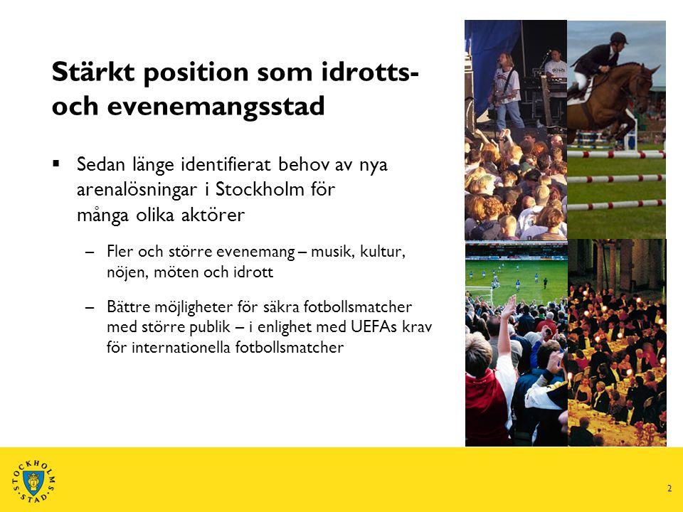 2 Stärkt position som idrotts- och evenemangsstad  Sedan länge identifierat behov av nya arenalösningar i Stockholm för många olika aktörer –Fler och större evenemang – musik, kultur, nöjen, möten och idrott –Bättre möjligheter för säkra fotbollsmatcher med större publik – i enlighet med UEFAs krav för internationella fotbollsmatcher