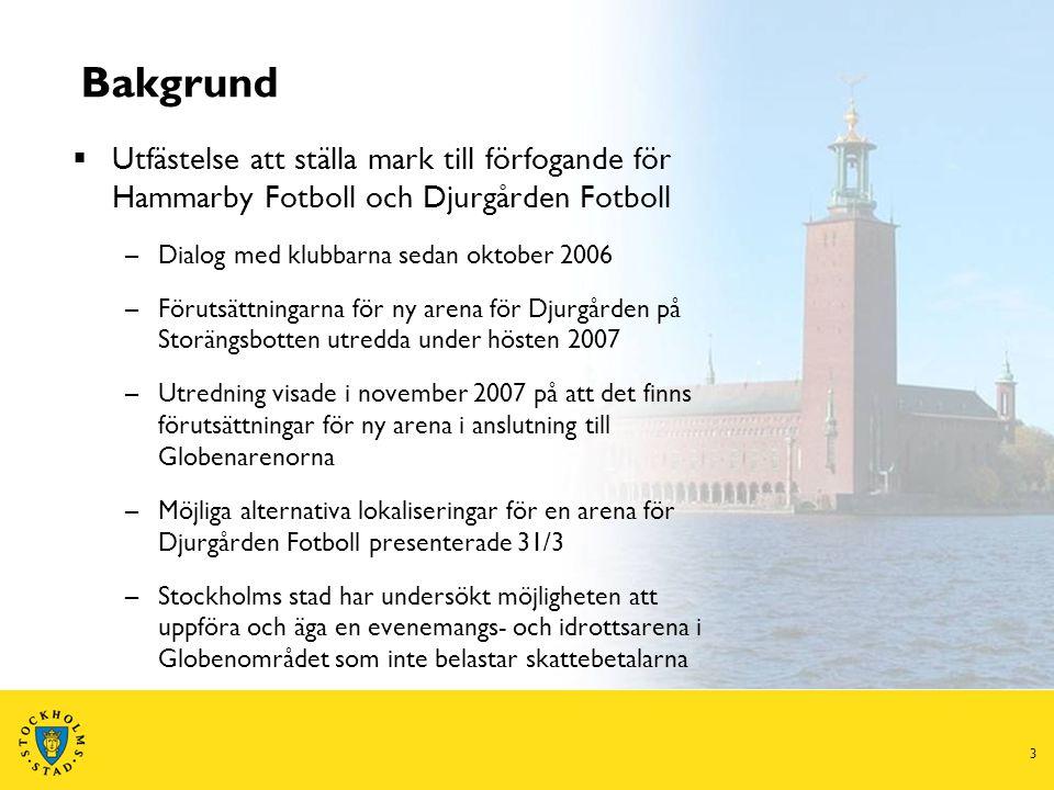 4 Utgångspunkter för ny Stockholmsarena  Samverkan med befintliga arenaanläggningar  Stadsdelsutveckling  Möjlighet till större evenemang – konserter, nöjesarrangemang, hästsport med mera  Större publik vid fotbollsmatcher – samtidigt som publikens och allmänhetens krav på ökad säkerhet uppfylls