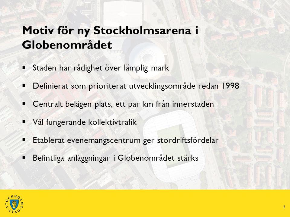 5 Motiv för ny Stockholmsarena i Globenområdet  Staden har rådighet över lämplig mark  Definierat som prioriterat utvecklingsområde redan 1998  Centralt belägen plats, ett par km från innerstaden  Väl fungerande kollektivtrafik  Etablerat evenemangscentrum ger stordriftsfördelar  Befintliga anläggningar i Globenområdet stärks